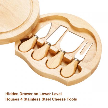 Set 4 cuțite pentru brânză Professional si suport lemn [10]