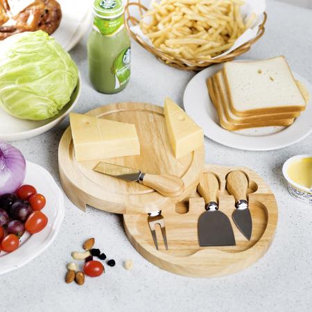 Set 4 cuțite pentru brânză Professional si suport lemn [2]