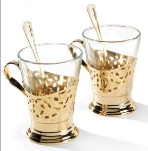 Set de cafea/ ceai 6 persoane DEL TRENO placat cu aur galben by Chinelli, made in Italy2