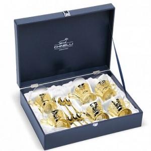 Set de cafea/ ceai 6 persoane DEL TRENO placat cu aur galben by Chinelli, made in Italy0