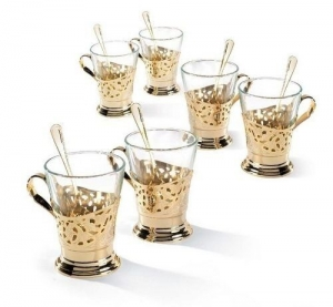 Set de cafea/ ceai 6 persoane DEL TRENO placat cu aur galben by Chinelli, made in Italy1