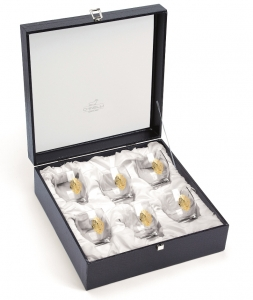 Set 6 pahare Acqua Atelier Arabesque GOLD Plated by Chinelli, made in Italy