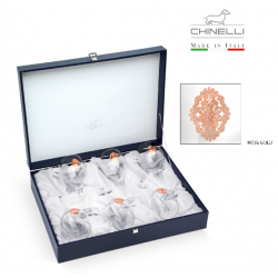 Set 6 Pahare Vin Arabesque Pink Gold Plated by Chinelli - made in Italy