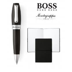 Set ballpoint Fortuna Black Steel Montegrappa si Note Pad Hugo Boss0