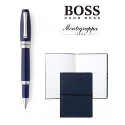 Set Ballpoint Fortuna Blue Palladium Montegrappa si Note Pad Hugo Boss0