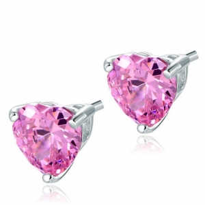 Set Borealy Argint Cercei şi Colier Pink Heart1