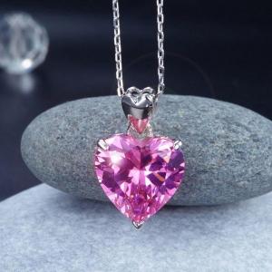 Set Borealy Argint Cercei şi Colier Pink Heart4