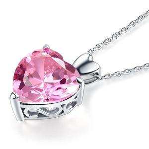 Set Borealy Argint Cercei şi Colier Pink Heart2