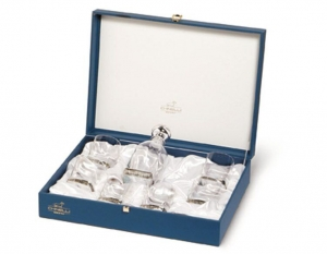 Set Whisky SILVER BORDURA 6 pahare placat cu argint by Chinelli, made in Italy