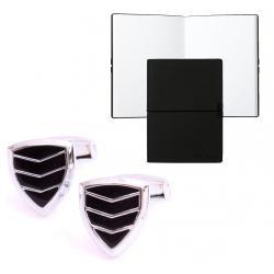 Set Butoni Borealy Silver & Black Triangle si Note pad Black Hugo Boss