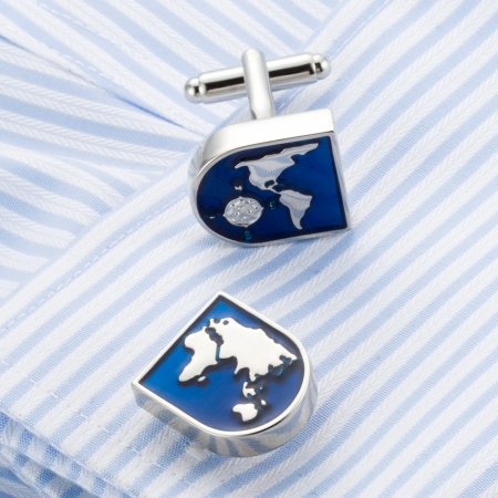 Set Butoni World Map Blue1