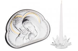 Cadou Valenti Argint Icoană şi Suport de Lumânare - Made in Italy0