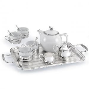 Set Ceai 4 persoane Silver Plated Home Chinelli - made in Italy0