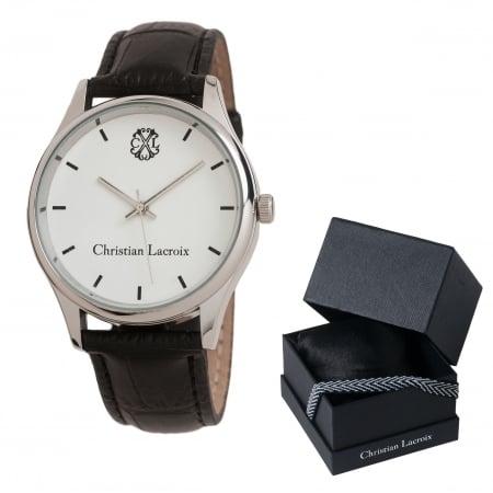 Ceas Christian Lacroix, Pix Treillis Desk Christian Lacroix si Butoni Elegant Round Silver by Borealy4