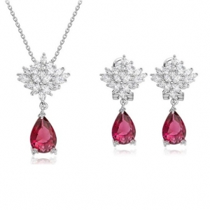 Set Cercei si Colier Borealy Glamorous Diva Ruby