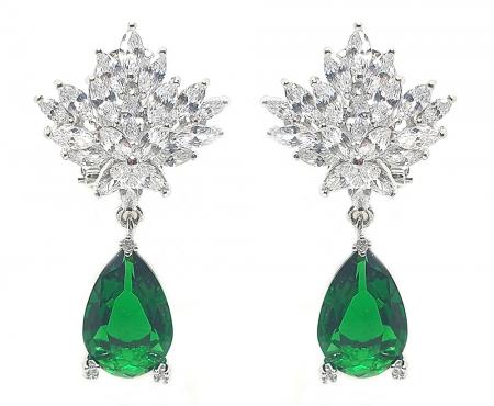 Set Cercei si Colier Borealy Glamorous Diva Smarald3