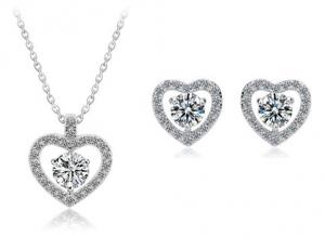 Set Cercei si Colier Romantic Hearts Borealy