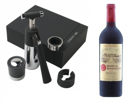 Set de vin Sommelier Cerruti 1881 & Vin Bordeaux Desk