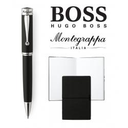 Set Ducale Black Palladium Ballpoint Montegrappa si Note Pad Hugo Boss0