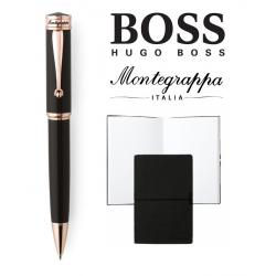 Set Ducale Black Rose Gold Ballpoint Montegrappa si Note Pad Hugo Boss0