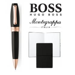 Set Fortuna Black Rose Gold Ballpoint Montegrappa si Note Pad Hugo Boss0