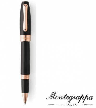 Fortuna Black Rose Gold Rollerball Montegrappa0