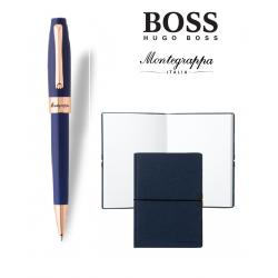 Set Fortuna Blue Rose Gold Ballpoint Montegrappa si Note Pad Hugo Boss0