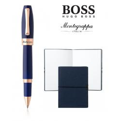Set Fortuna Blue Rose Gold Rollerball Montegrappa si Note Pad Hugo Boss