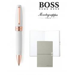Set Fortuna White Rose Gold Ballpoint Montegrappa si Note Pad Hugo Boss