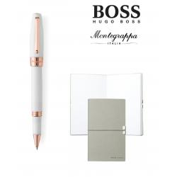 Set Fortuna White Rose Gold Rollerball Montegrappa si Note Pad Hugo Boss
