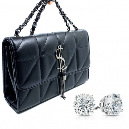Cadou Valentine's Day Geanta Black Glam si Cercei Diamond One [0]