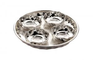 Platou 4 boluri placate cu argint PETALO NINFEA  SERA by Chinelli, made in Italy