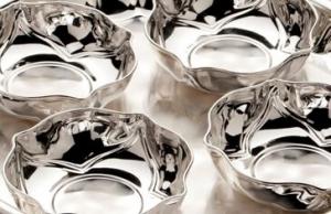 Platou 4 boluri placate cu argint PETALO NINFEA  SERA by Chinelli, made in Italy1