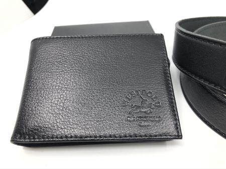 Leather Set: WestPolo Borseta, Portofel si Curea Negre Piele Naturala5