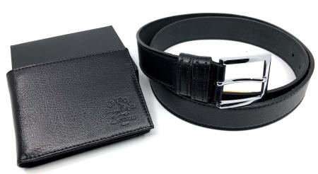 Leather Set: WestPolo Borseta, Portofel si Curea Negre Piele Naturala2