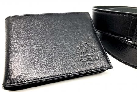 Leather Set: WestPolo Borseta, Portofel si Curea Negre Piele Naturala7