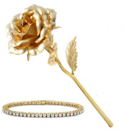 Set Rafined Gold Lady, Bratara Tennis Classic si Trandafir Aur 24k