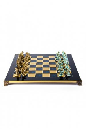Set de sah, piese blue/bronz, perioada arhaica, tabla albastra 44 X 44CM by Manopoulos, Made in Greece [0]