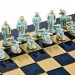 Set de sah, piese blue/bronz, perioada arhaica, tabla albastra 44 X 44CM by Manopoulos, Made in Greece [5]