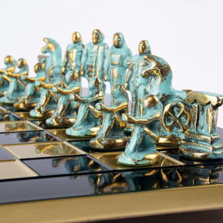 Set de sah, piese blue/bronz, perioada arhaica, tabla albastra 44 X 44CM by Manopoulos, Made in Greece [3]
