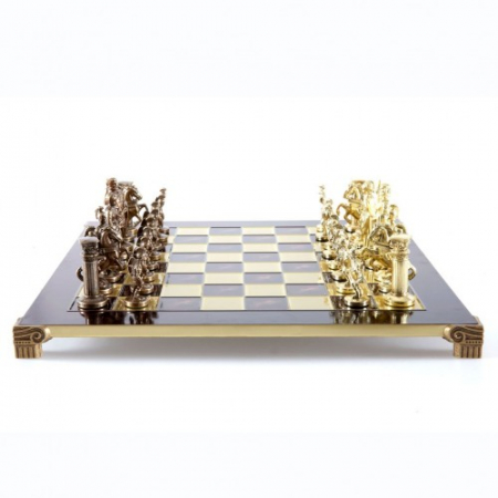 SET DE SAH SCUTIERI, PERIOADA GRECO-ROMANA, PIESE AURIU/BRONZ, TABLA BORDO 44 X 44CM by Manopoulos, Made in Greece0