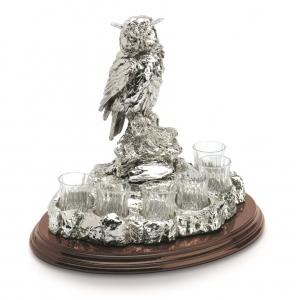 Set Vodca 6 pahare și statuetă Bufniță Argint și pahare din Cristal by Chinelli, made in Italy