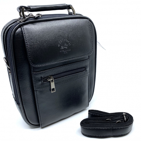 Leather Set: WestPolo Borseta, Portofel si Curea Negre Piele Naturala4