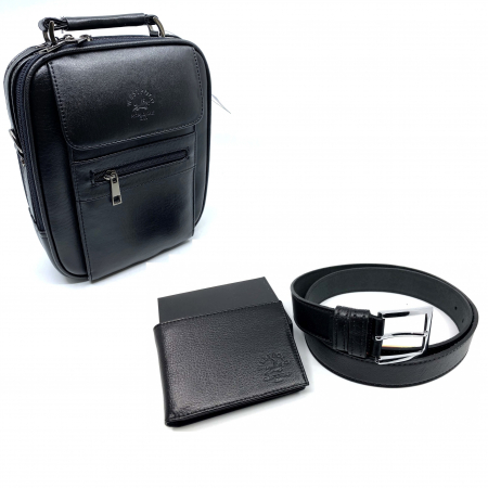 Leather Set: WestPolo Borseta, Portofel si Curea Negre Piele Naturala1