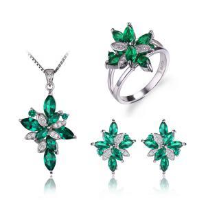 Borealy Precious Smarald Set Inel, Pandantiv si Cercei Argint 9250