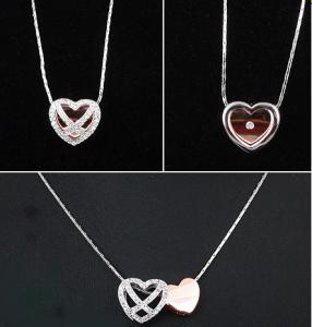 Diamond Heart White & Pink Set Medalion s Cercei y Borealy2