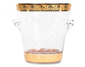 Frapieră şi Pahare Cristal Aurite Prestige Cuvee Credan, made in Spain2