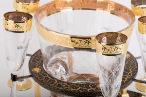 Frapieră şi Pahare Cristal Aurite Prestige Cuvee Credan, made in Spain1