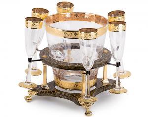 Frapieră şi Pahare Cristal Aurite Prestige Cuvee Credan, made in Spain0