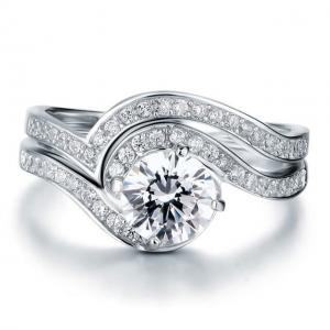 Set Borealy Inel şi Verighetă Luxury Princess Argint 925 Marimea 6